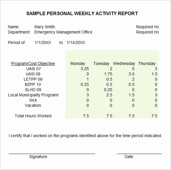 Weekly Activities Report Template New 33 Weekly Activity Report Templates Pdf Doc