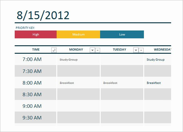Weekly Class Schedule Template Awesome Class Schedule Template Free Word Excel Documents