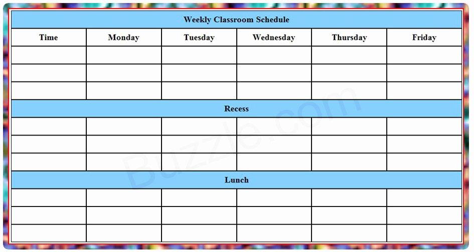 Weekly Class Schedule Template Elegant Printable Weekly Class Schedule Template