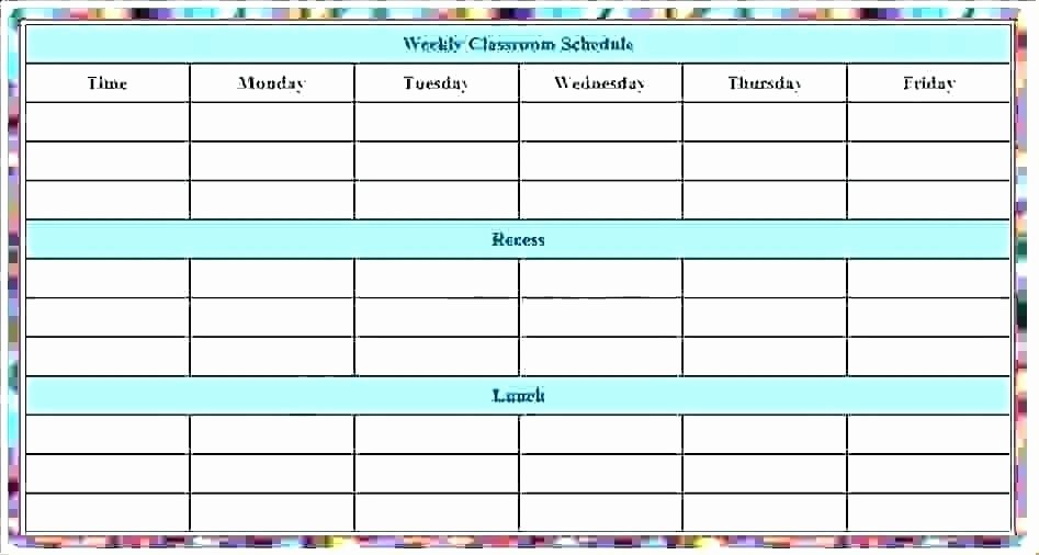 Weekly Class Schedule Template Inspirational Printable Weekly Class Schedule Template Word Download