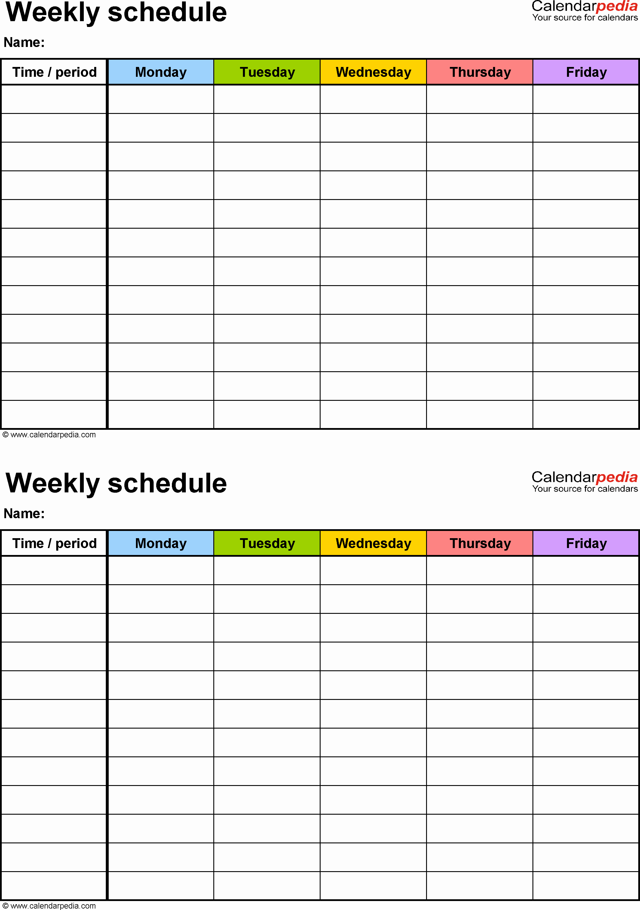 Weekly Class Schedule Template Luxury Schedule Template Free