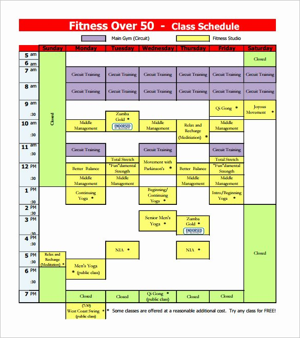 Weekly Class Schedule Template New Class Schedule Template 36 Free Word Excel Documents
