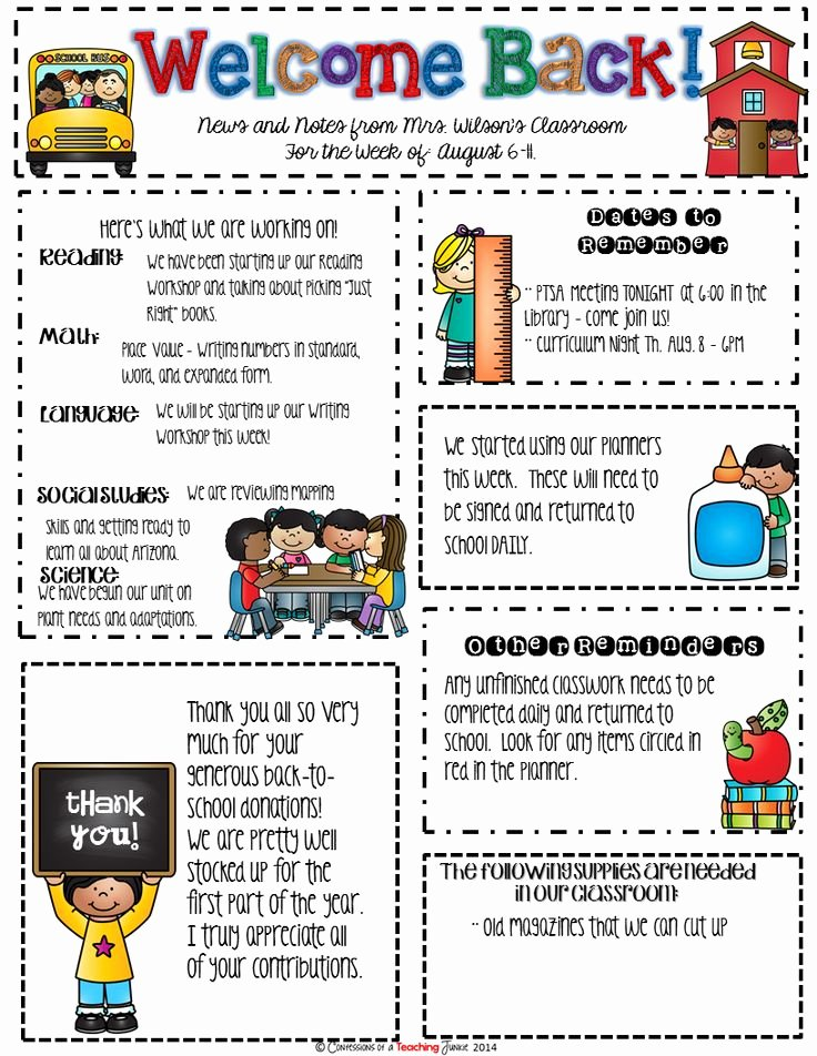 Weekly Classroom Newsletter Template Awesome 25 Best Ideas About Teacher Newsletter On Pinterest