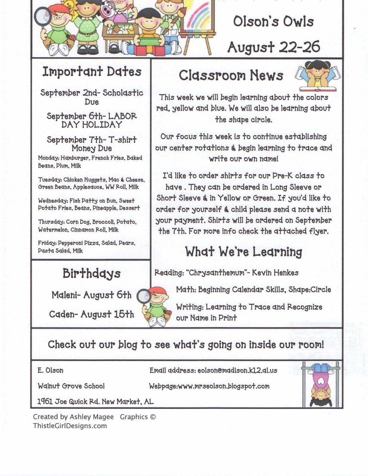 Weekly Classroom Newsletter Template Awesome December School Newsletter Ideas