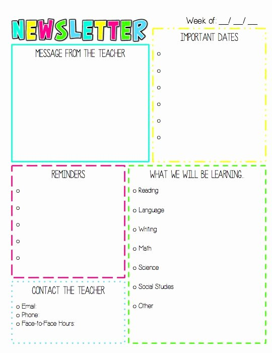 Weekly Classroom Newsletter Template Beautiful the 25 Best Weekly Newsletter Template Ideas On Pinterest