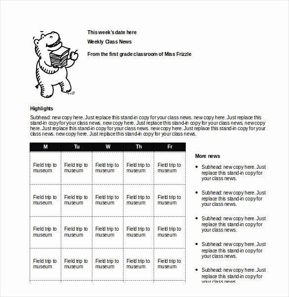 Weekly Classroom Newsletter Template Best Of Classroom Newsletter Template – 9 Free Word Pdf
