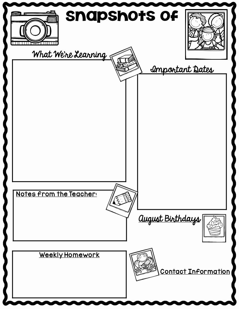 Weekly Classroom Newsletter Template Best Of the Teaching Oasis Monthly Calendars and Newsletter