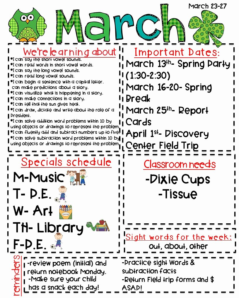 Weekly Classroom Newsletter Template Fresh Classroom Newsletter Freebie Kickin It In Kindergarten