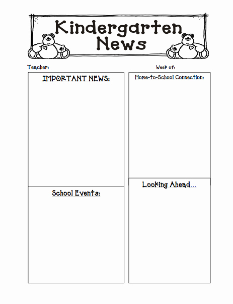 Weekly Classroom Newsletter Template Fresh Kinders First Freebie Newsletter Template