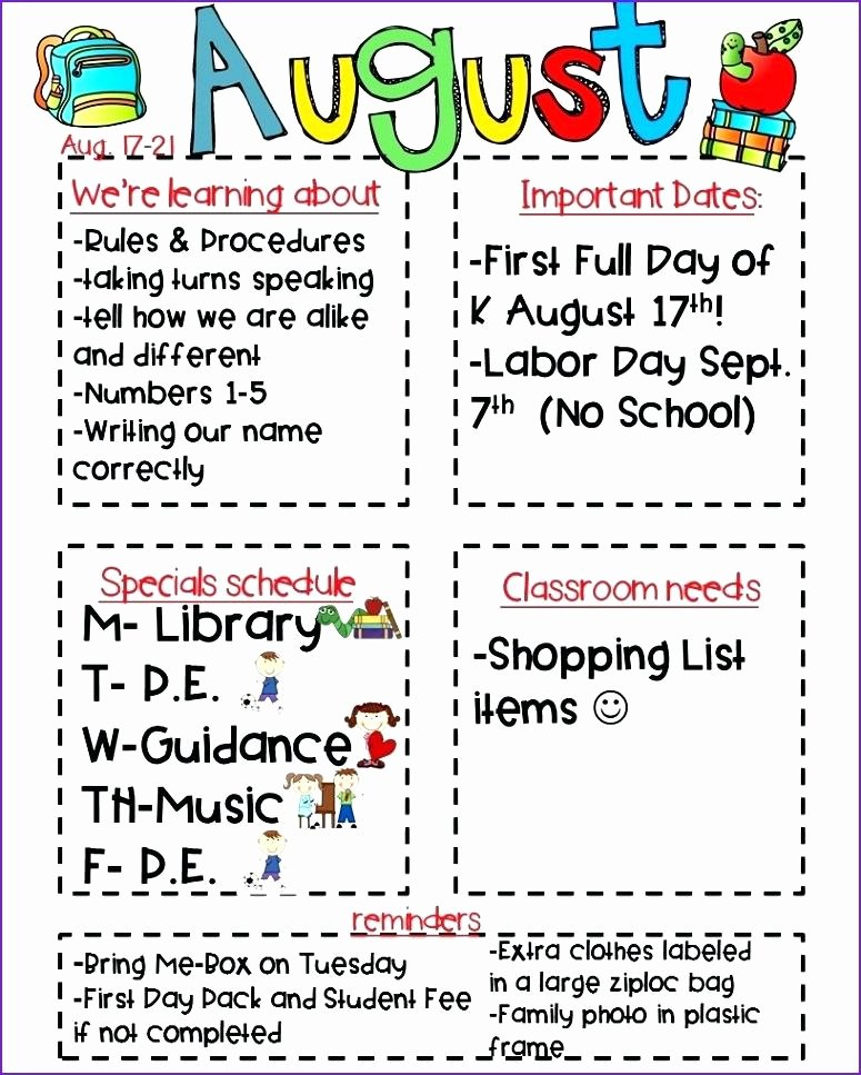 Weekly Classroom Newsletter Template Fresh School Newsletter Templates Weekly Primary Classroom