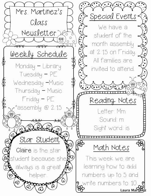 Weekly Classroom Newsletter Template Fresh Teacher Laura Editable Class Newsletter Template