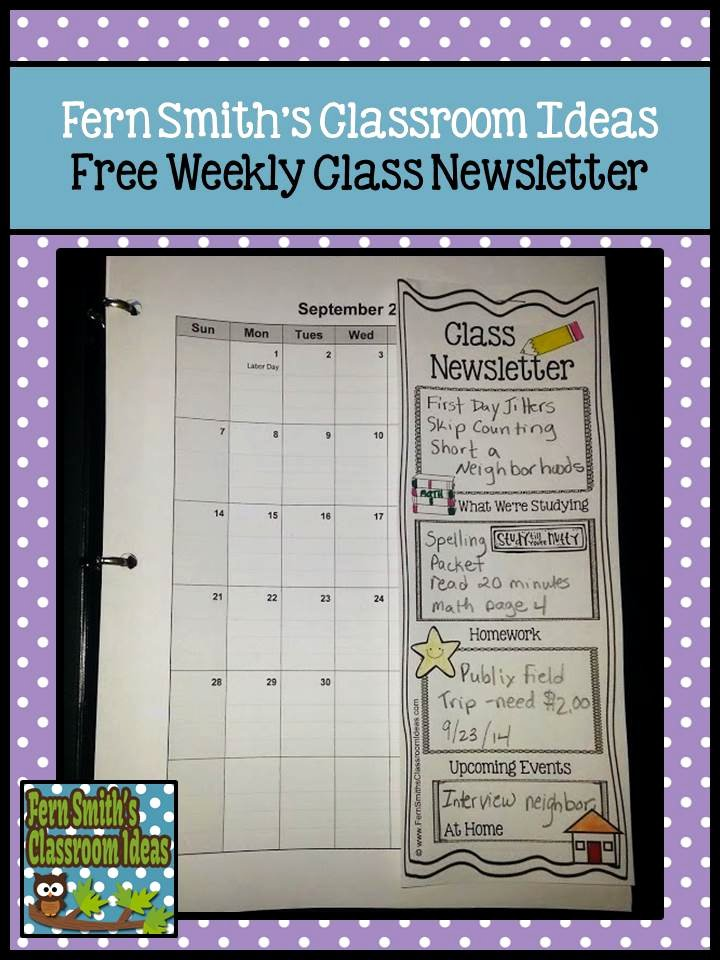 Weekly Classroom Newsletter Template Fresh Tuesday Teacher Tips Munication Fern Smith S