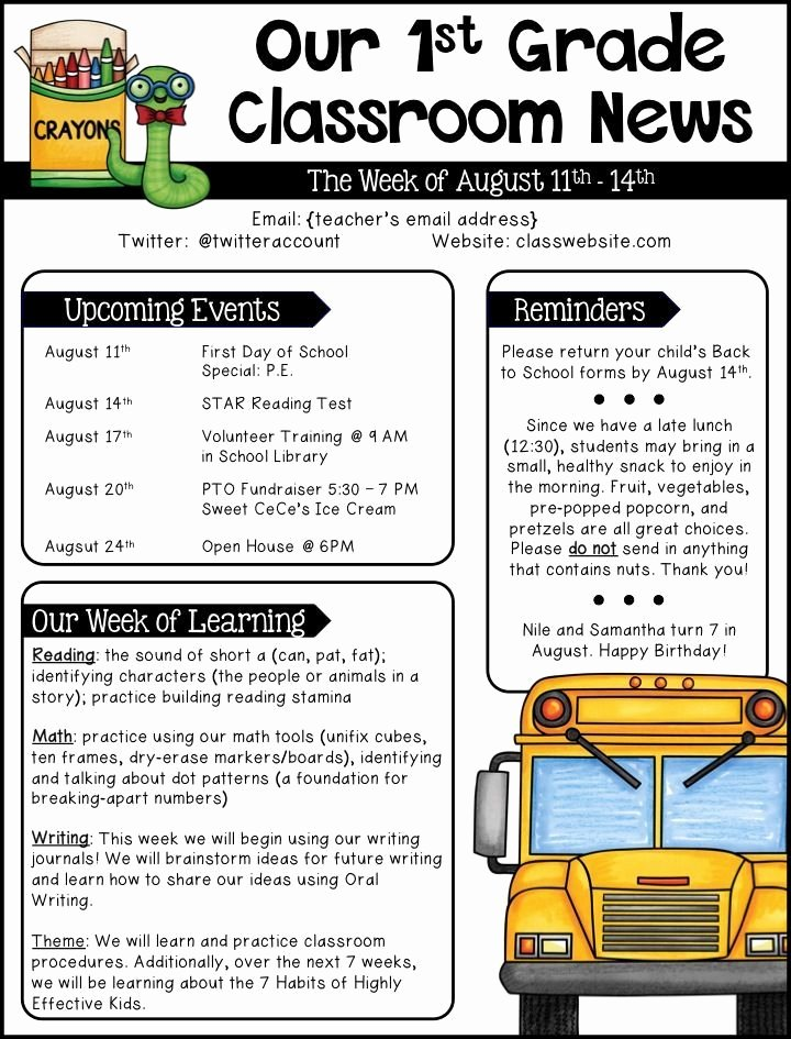 Weekly Classroom Newsletter Template Inspirational Best 25 Weekly Classroom Newsletter Ideas On Pinterest