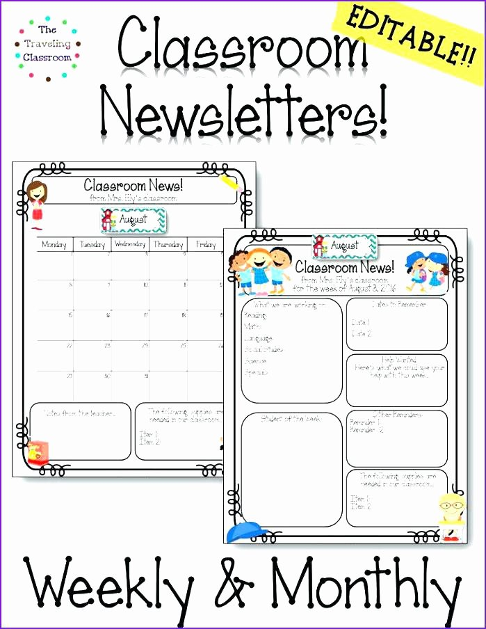 Weekly Classroom Newsletter Template Inspirational Great Clroom Newsletter Templates S Custom