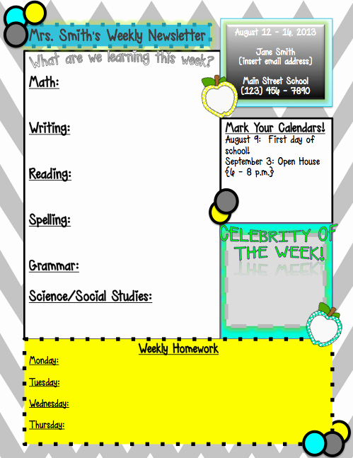 Weekly Classroom Newsletter Template Lovely Weekly Newsletter Template…editable In Powerpoint