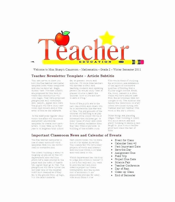 Weekly Classroom Newsletter Template Luxury Newsletters Templates for Teachers Good Printable