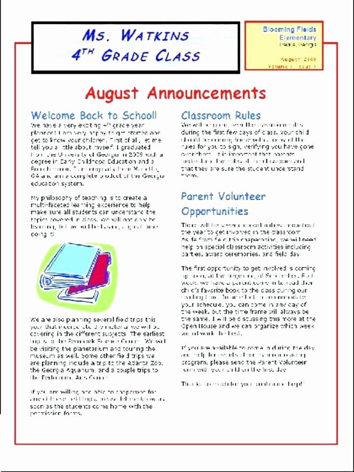 Weekly Classroom Newsletter Template New Class Newsletter Template School Templates Weekly Primary