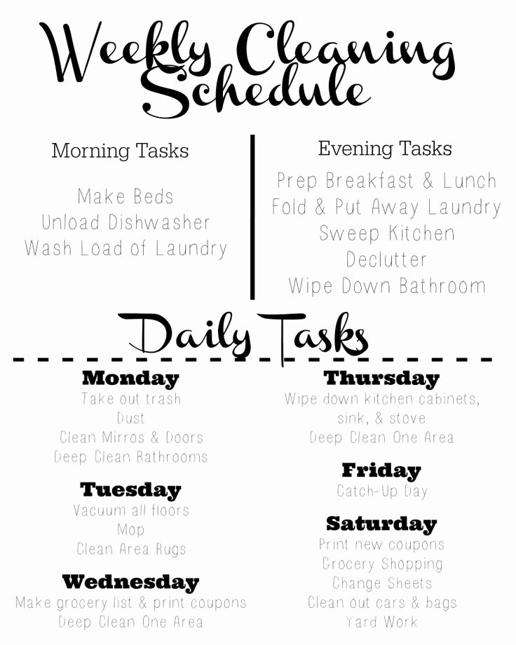 Weekly Cleaning Schedule Template Awesome Cleaning Schedule Template Tips