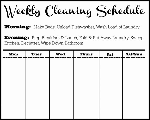 Weekly Cleaning Schedule Template Beautiful Cleaning Schedule Template 12 Free Sample Example
