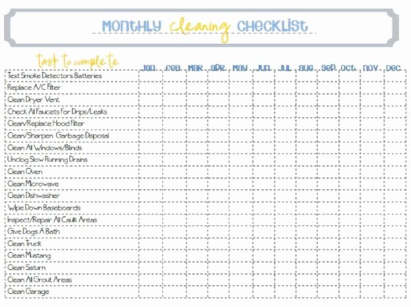 Weekly Cleaning Schedule Template Best Of Monthly Cleaning Printable All On Paper