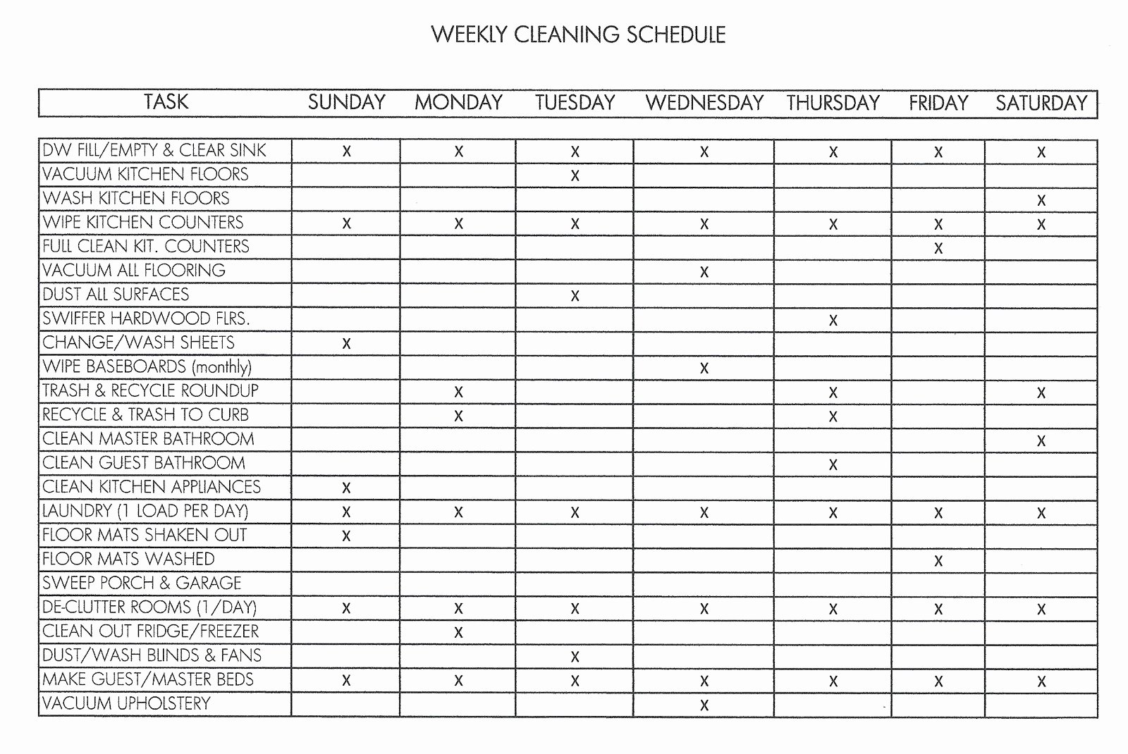Weekly Cleaning Schedule Template Elegant Personal House Cleaning Schedule Template Weekly V M D