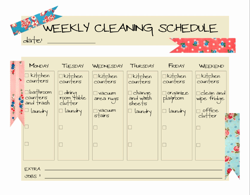 Weekly Cleaning Schedule Template Inspirational Daily Cleaning Schedule Template