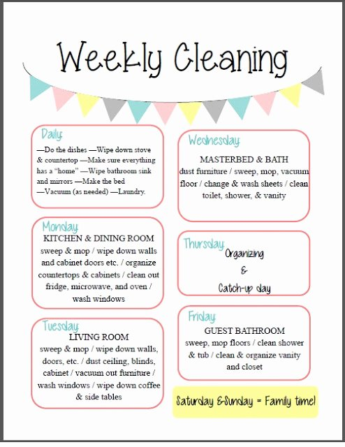 Weekly Cleaning Schedule Template Inspirational orchard Girls Fix It Up Friday Free organizational