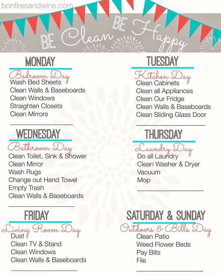 Weekly Cleaning Schedule Template Inspirational Weekly Cleaning Schedule Printable