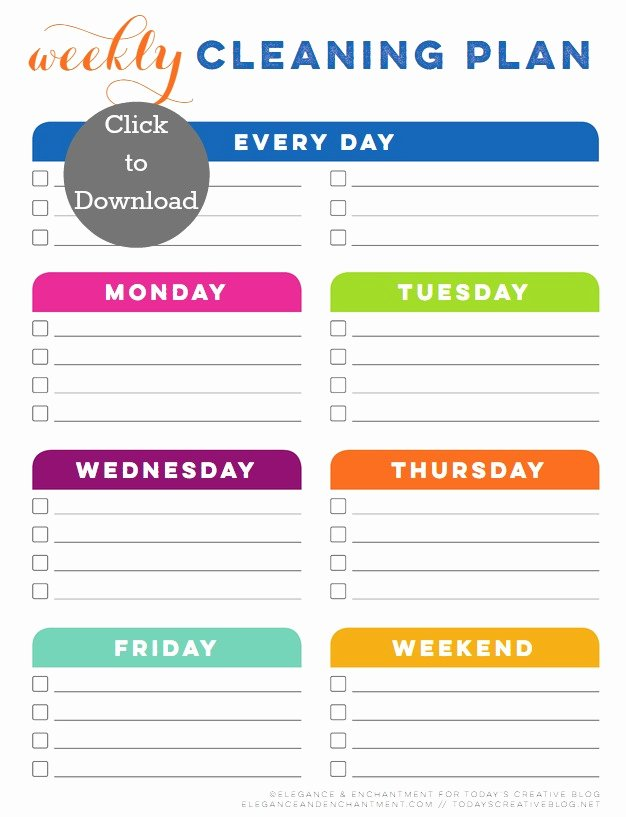 Weekly Cleaning Schedule Template Luxury Weekly Cleaning Schedule Printable