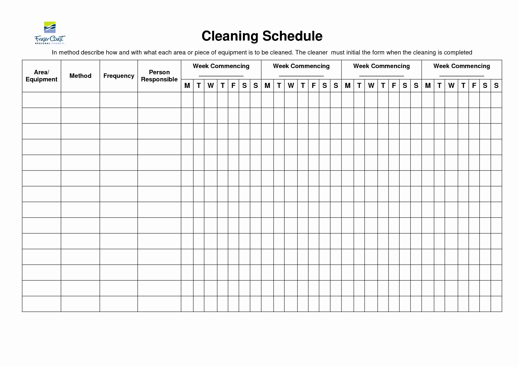 Weekly Cleaning Schedule Template New 8 Best Of Restroom Cleaning Schedule Printable