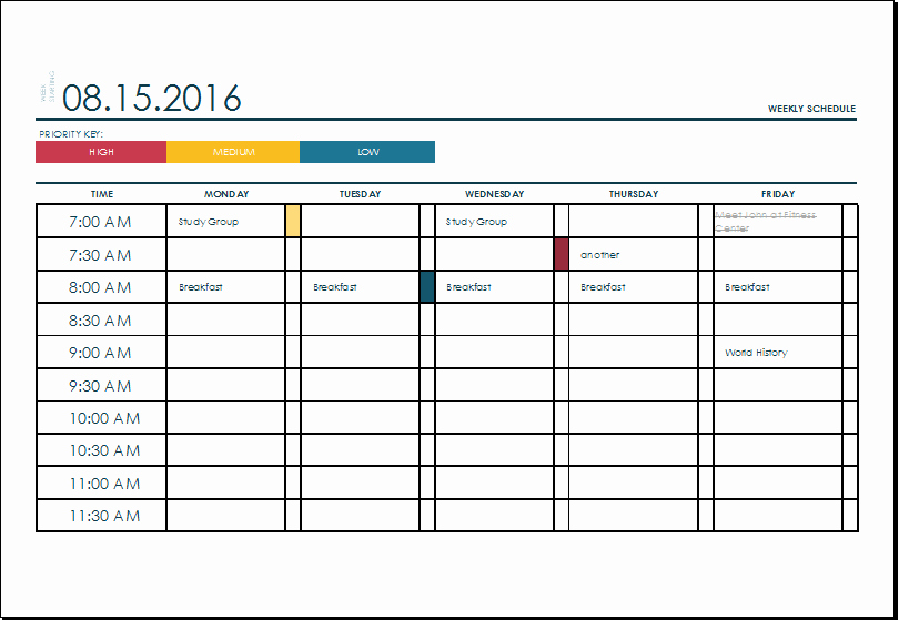 Weekly College Schedule Template Awesome Ms Excel Weekly College Tasks Schedule Template