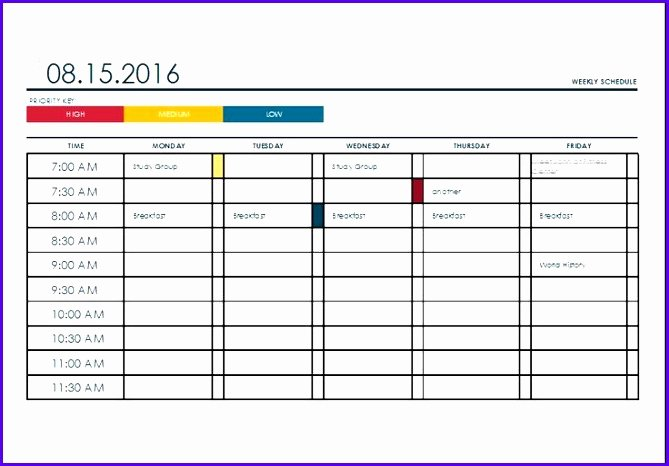 Weekly College Schedule Template Beautiful 11 Excel College Schedule Template Exceltemplates