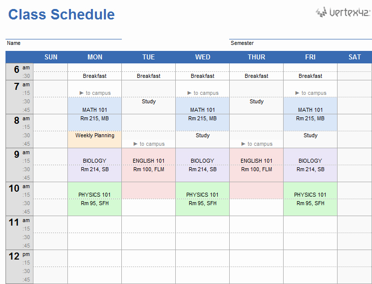 Weekly College Schedule Template Beautiful Weekly Class Schedule Template for Excel