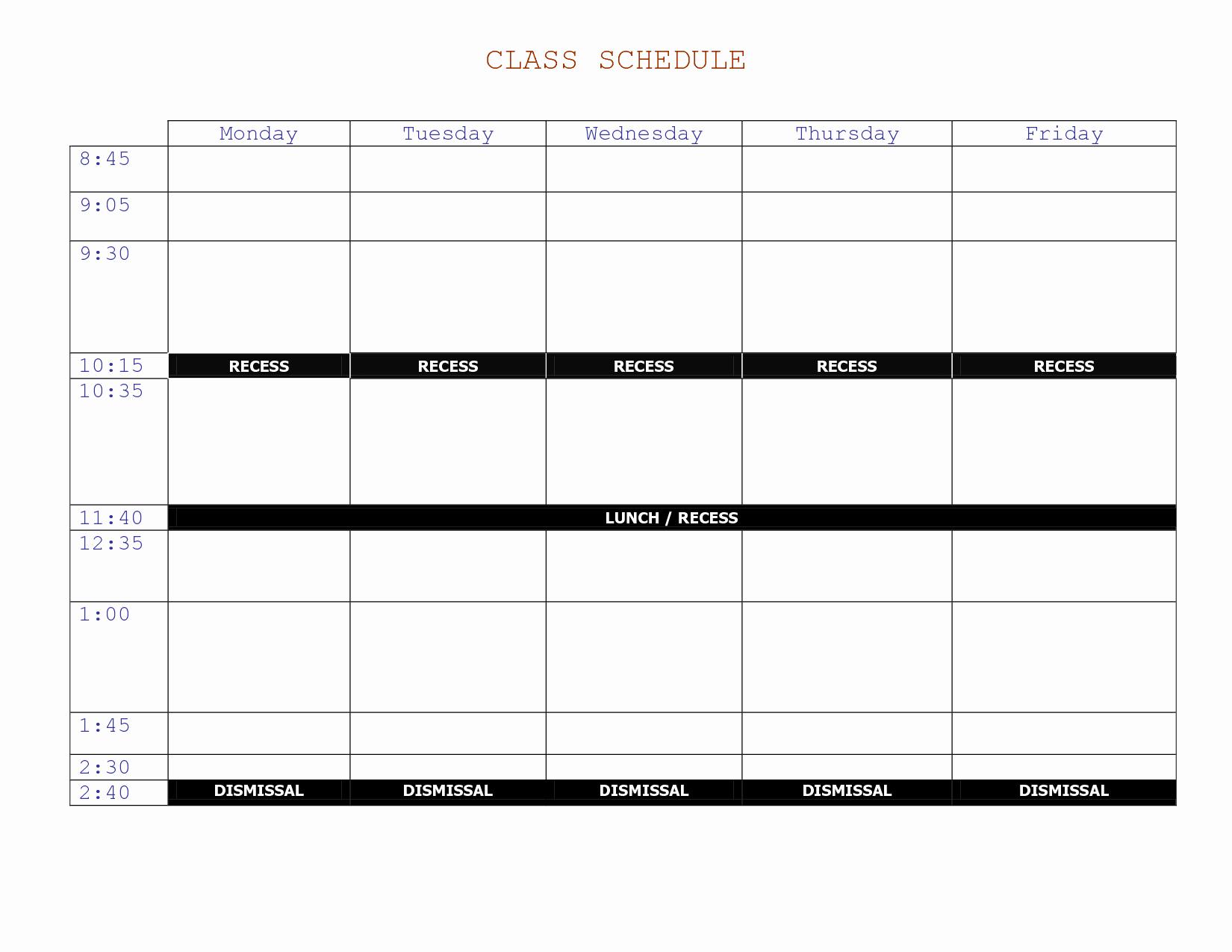 Weekly College Schedule Template Best Of 7 Best Of Printable Class Schedule Maker Class
