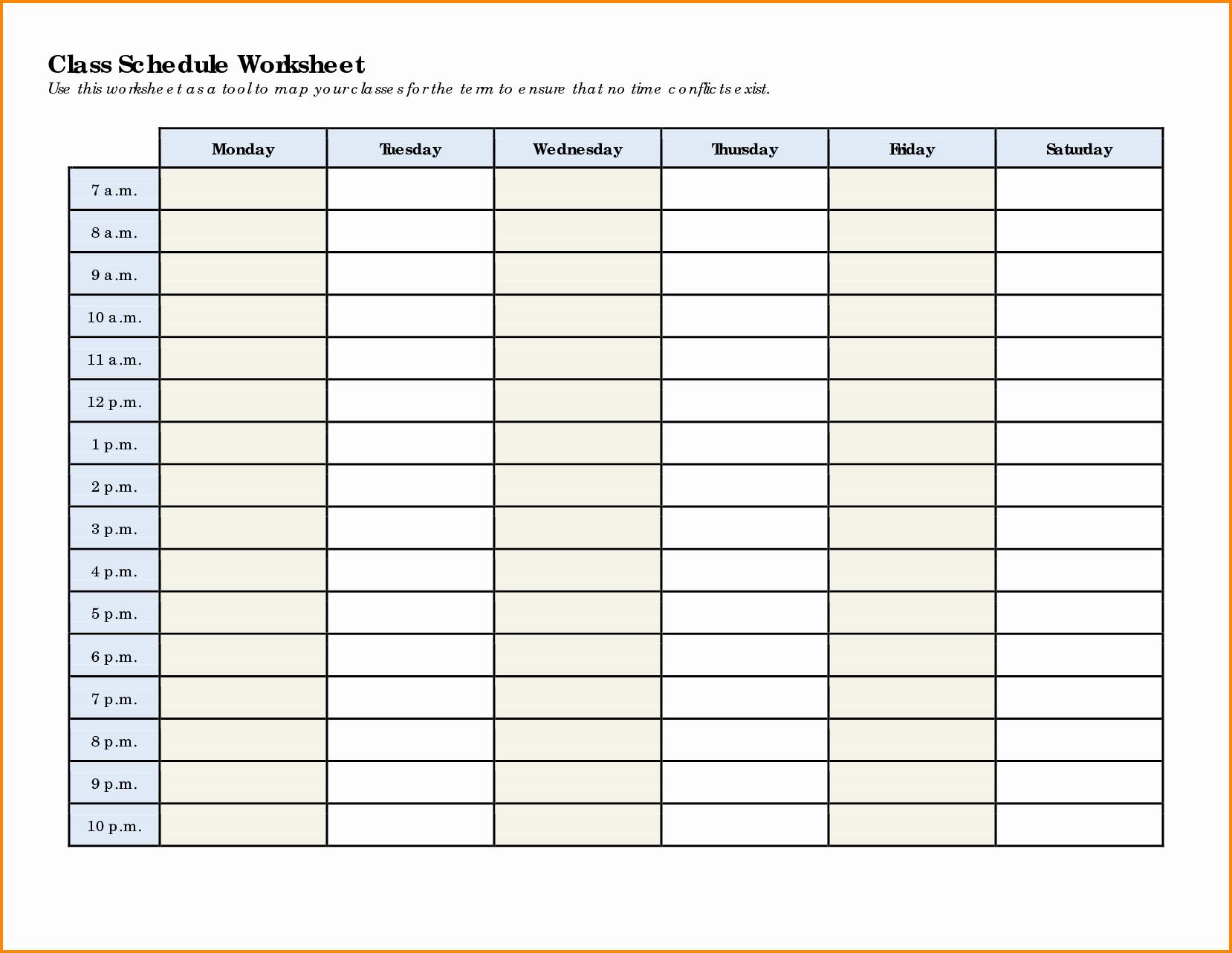 Weekly College Schedule Template Best Of 7 Weekly Class Schedule Template