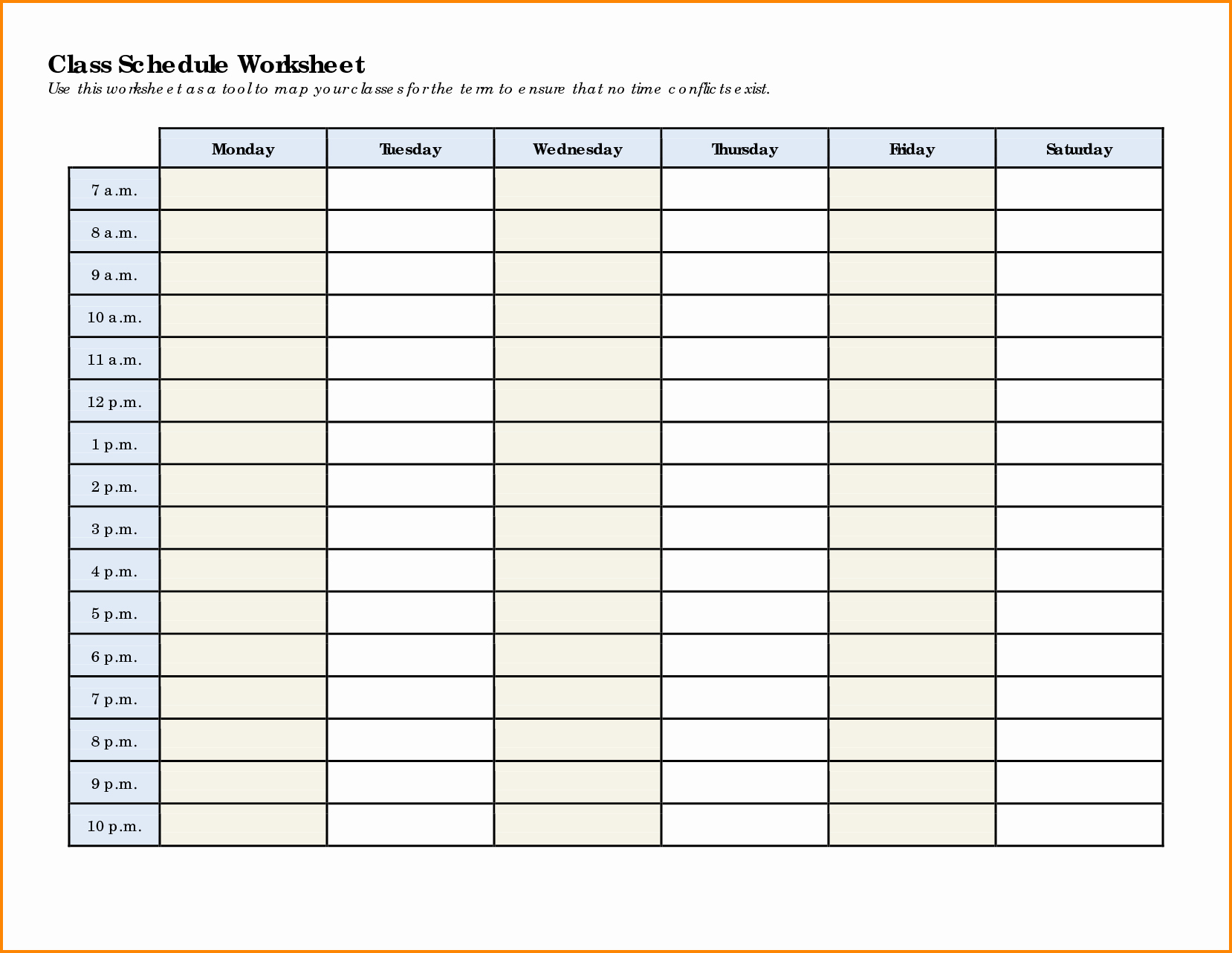 Weekly College Schedule Template Fresh 7 Weekly Class Schedule Template