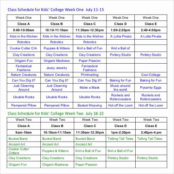Weekly College Schedule Template Luxury 18 Weekly Group Schedule Templates – Pdf Word Excel