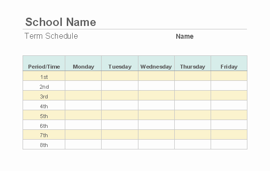 Weekly College Schedule Template New Weekly Class Schedule
