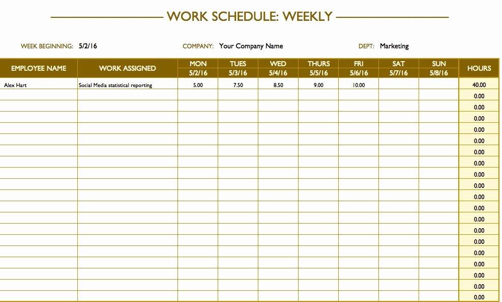 Weekly Employee Schedule Template Excel Fresh Free Work Schedule Templates for Word and Excel