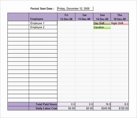 Weekly Employee Schedule Template Excel Unique Employee Shift Schedule Template 12 Free Word Excel