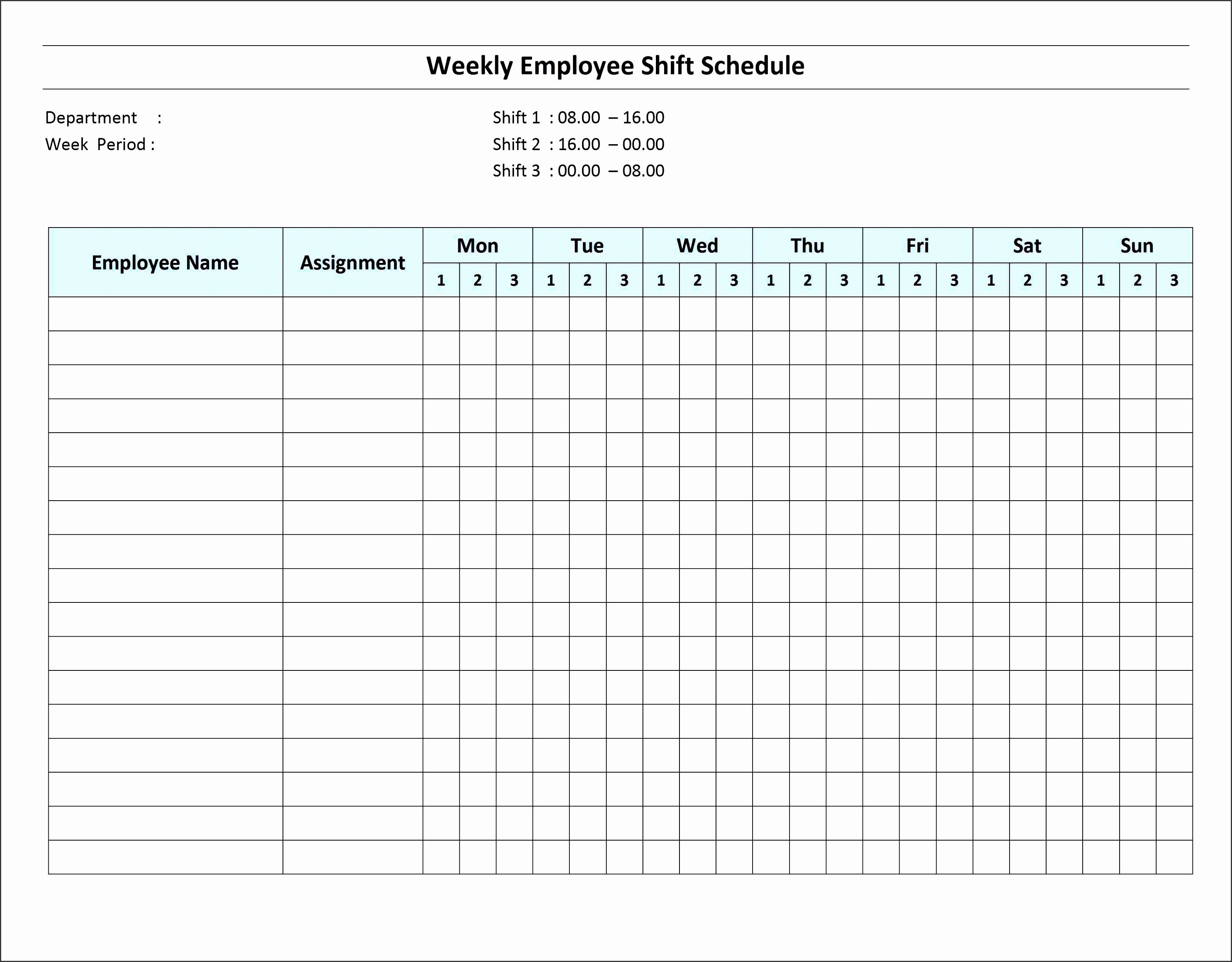 Weekly Employee Schedule Template Fresh 6 Excel Daily Work Schedule Sampletemplatess