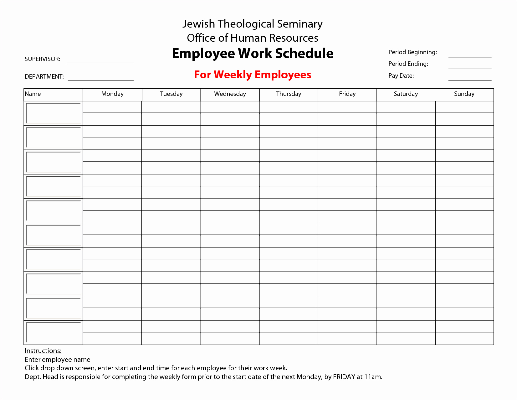Weekly Employee Schedule Template Inspirational 7 Weekly Employee Schedule Template