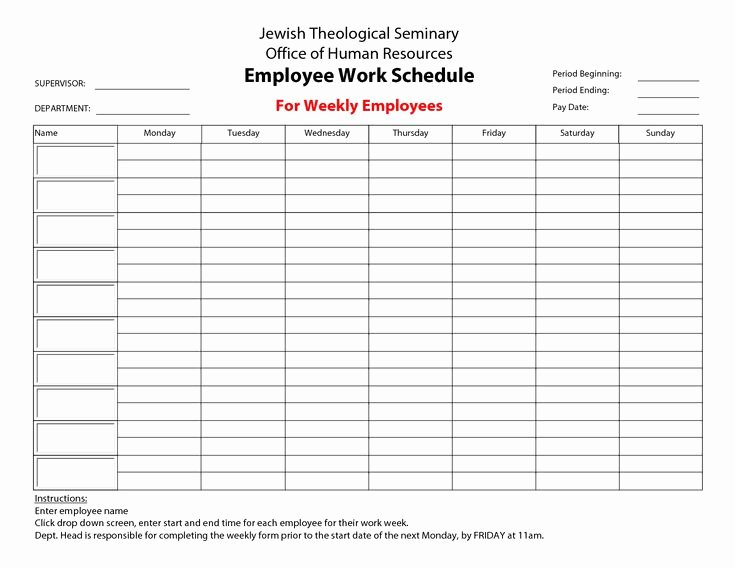 Weekly Employee Schedule Template New 20 Hour Work Week Template