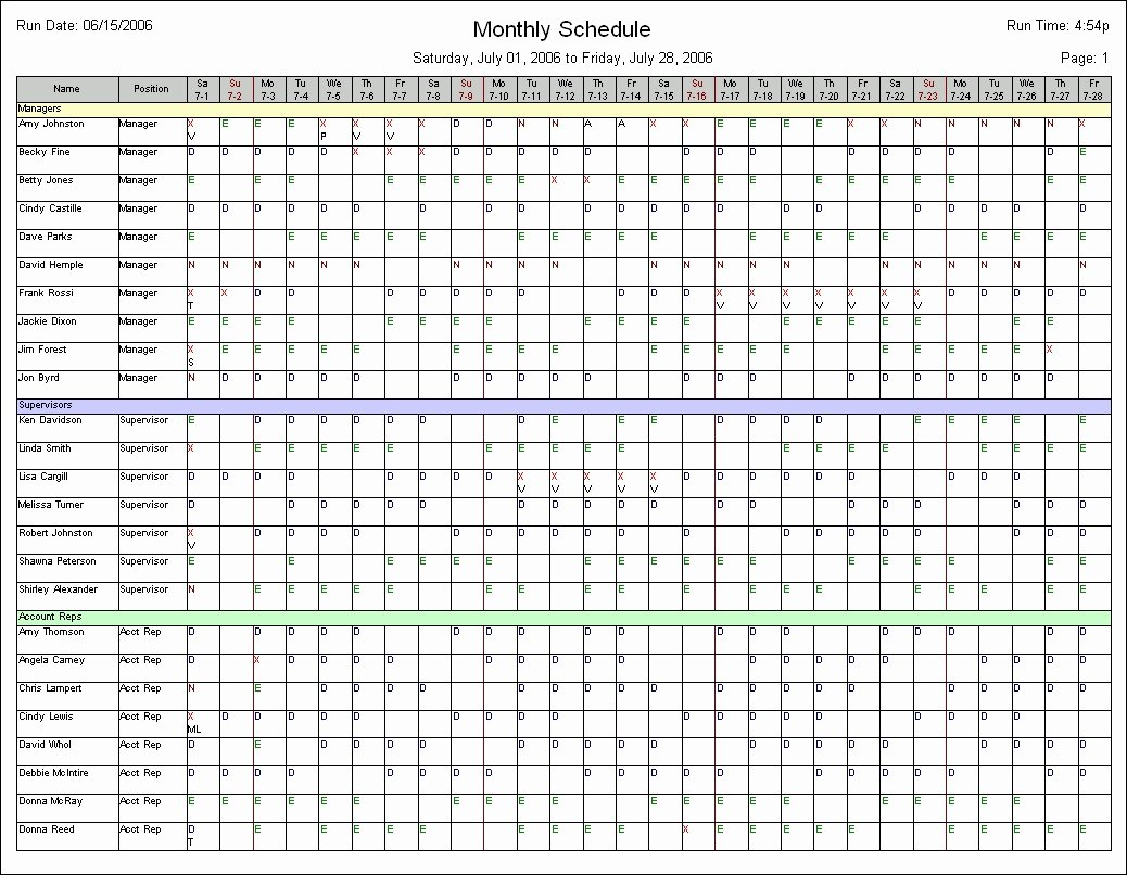 Weekly Employee Schedule Template New Monthly Employee Schedule Template
