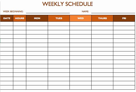 Weekly Employee Schedule Template Unique Free Work Schedule Templates for Word and Excel