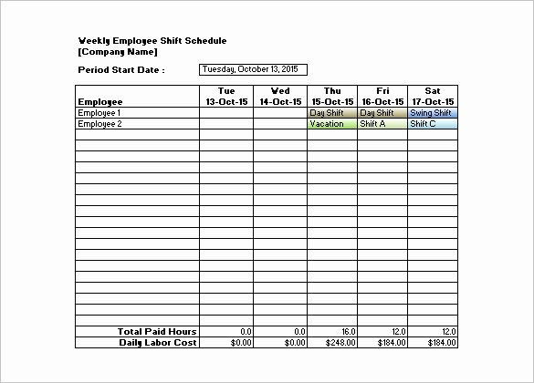 Weekly Employee Schedule Template Unique Shift Schedule Templates – 12 Free Word Excel Pdf