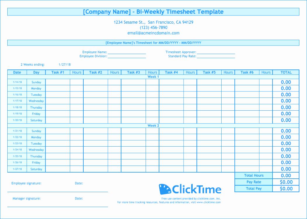 Weekly Employee Timesheet Template Beautiful Biweekly Timesheet Template Free Excel Templates