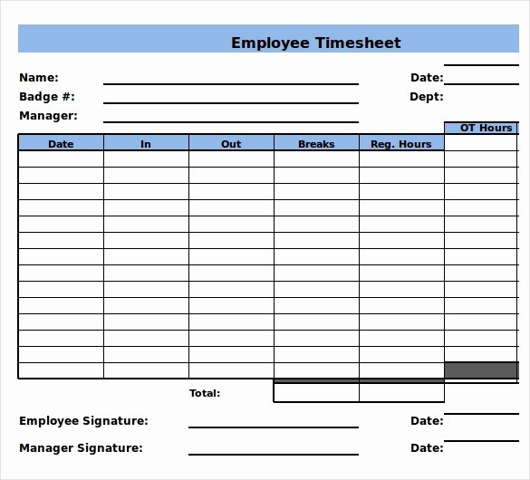 Weekly Employee Timesheet Template Fresh 29 Free Timesheet Templates – Free Sample Example format