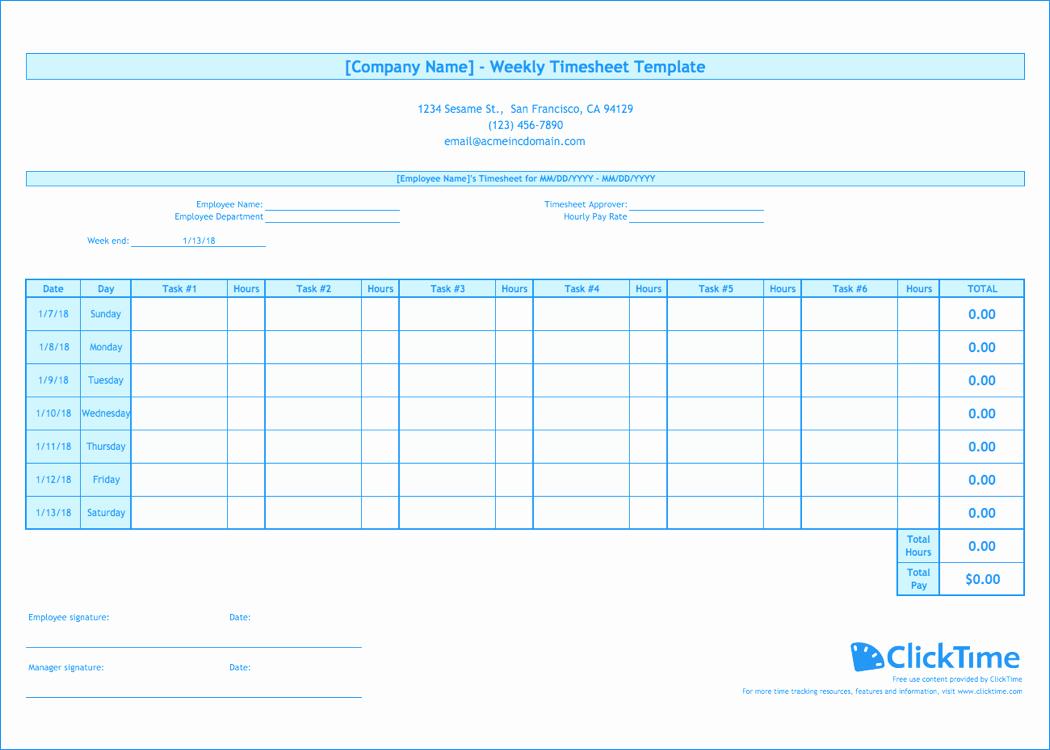Weekly Employee Timesheet Template Fresh Weekly Timesheet Template Free Excel Timesheets