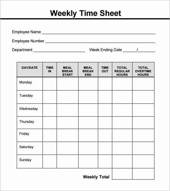 Weekly Employee Timesheet Template Inspirational 15 Sample Weekly Timesheet Templates for Free Download